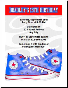 All Star Shoes Birthday Party Invitation Blue