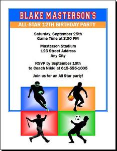 All Star Sports Birthday Party Invitation