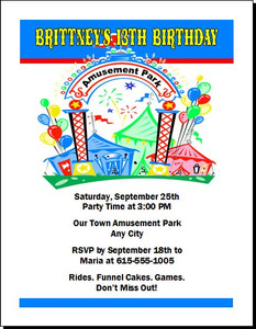 Amusement Park Birthday Party Invitation