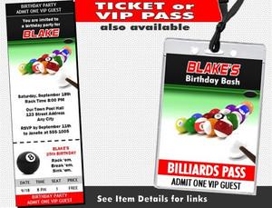Billiards Birthday Party Invitation Other Styles