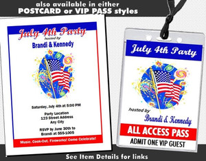 American Flag 4th of July Party Ticket Invitation Other Styles