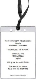 4th of July Celebration VIP Pass Invitation Back