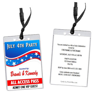 4th of July Party VIP Pass Invitation