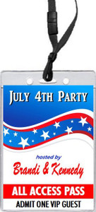 4th of July Party VIP Pass Invitation Front