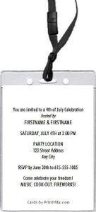 American Flag 4th of July Party VIP Pass Invitation Back