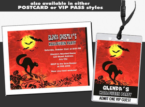 Black Cat Halloween Party Ticket Invitation Other Styles