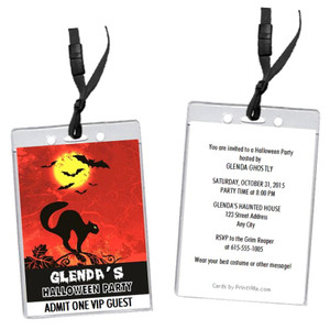 Black Cat Halloween Party VIP Pass Invitation