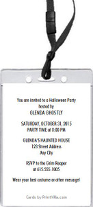 Black Cat Halloween Party VIP Pass Invitation Back