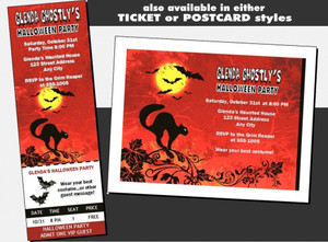 Black Cat Halloween Party VIP Pass Invitation Other Styles