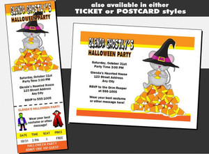 Candy Corn Mouse Halloween Party VIP Pass Invitation Other Styles