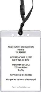 Grim Reaper Halloween Party VIP Pass Invitation Back