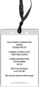 Halloween Party VIP Pass Invitation Back