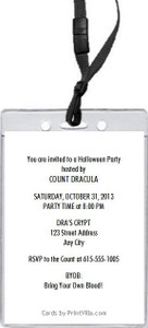 Vampire Cartoon Halloween Party VIP Pass Invitation Back