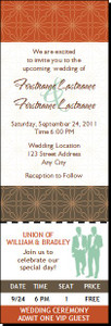 Autumn Retro Flower Gay Wedding Ticket Invitation