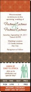 Autumn Retro Flower Lesbian Wedding Ticket Invitation Butch-Butch