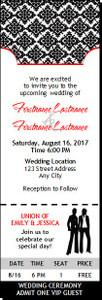 Black & White Lesbian Wedding Ticket Invitation Butch-Butch
