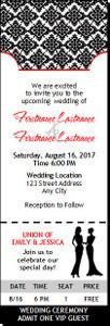 Black & White Lesbian Wedding Ticket Invitation Femme-Femme