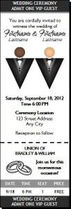 Black Tux Gay Wedding Ticket Invitation Light Dark