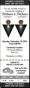 Black Tux Gay Wedding Ticket Invitation Dark Dark