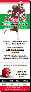 Arkansas Razorbacks Colored Football Ticket Invitaton