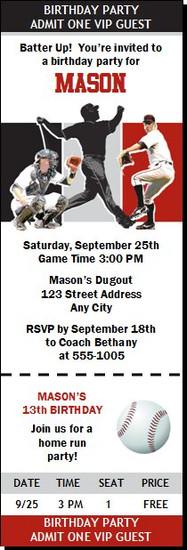 Houston Astros Colored Baseball Birthday Party Ticket Invitation