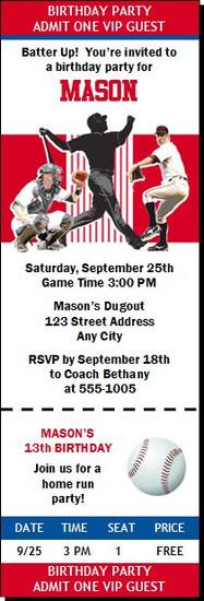 Philadelphia Phillies Colored Baseball Birthday Party Ticket Invitation