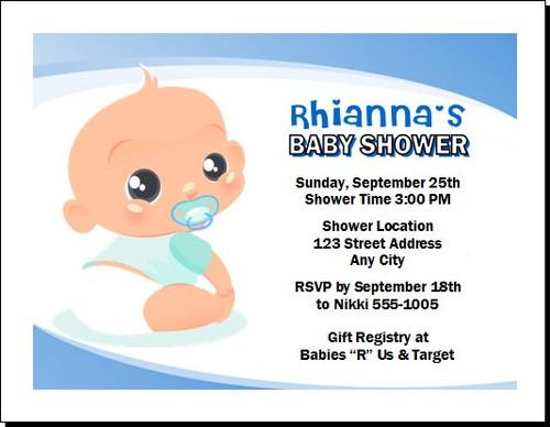 Baby Boy Blue Baby Shower Invitation