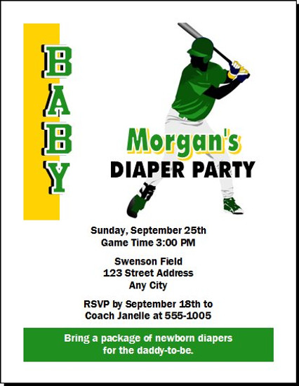Baseball Slugger Design 2 Baby Shower, Co-Ed, Diaper Party Invitation