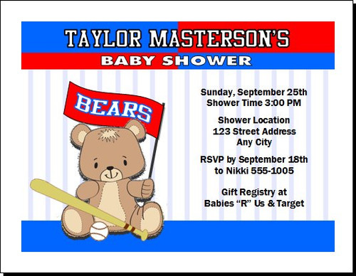 Baseball Teddy Bear Baby Shower, Co-Ed, Diaper Party Invitation