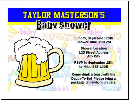 Beer Mug Baby Shower, Diaper Party Invitation