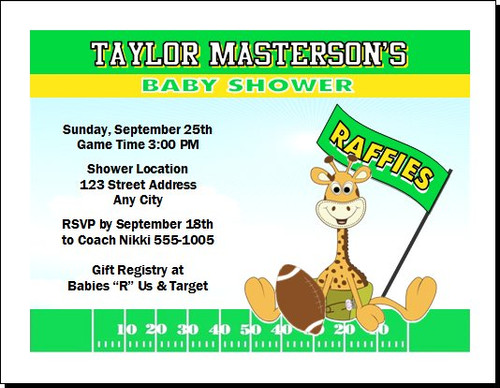 Football Raffie Baby Shower, Co-Ed, Diaper Party Invitation