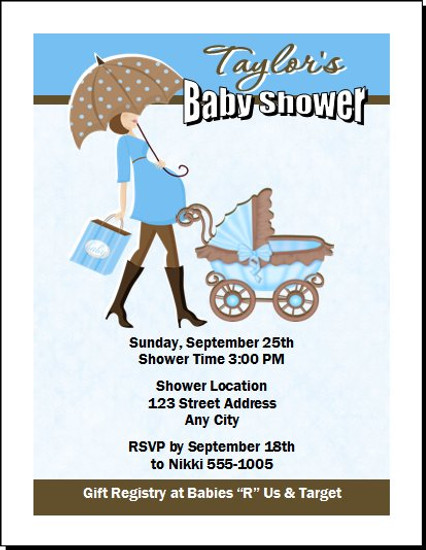 Mom To Be Blue Baby Shower Invitation