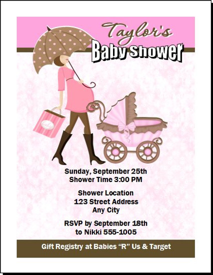 Mom To Be Pink Baby Shower Invitation