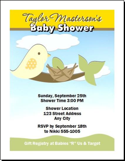 Momma Bird Baby Shower Invitation