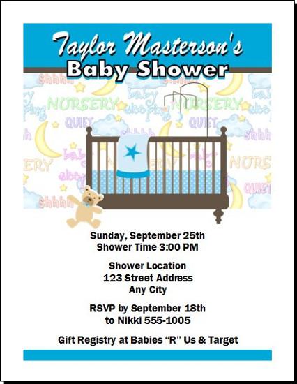 Nursery Time Blue Baby Shower Invitation