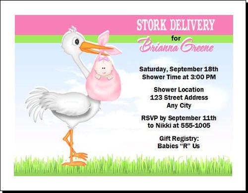 Pink Stork Baby Shower Invitation, Choice of Skin Color, Multiple Babies, Set of 12