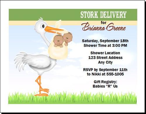 Stork Baby Shower Invitation