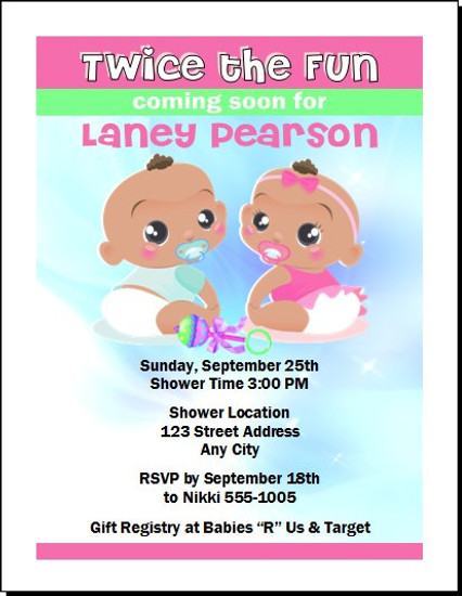 Twice the Fun African Baby Shower Invitation