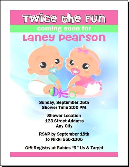 Twice the Fun Baby Shower Invitation
