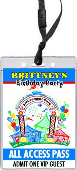 Amusement Park Birthday Party VIP Pass Invitation