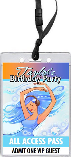 Aqua Girl Birthday Party VIP Pass Invitation