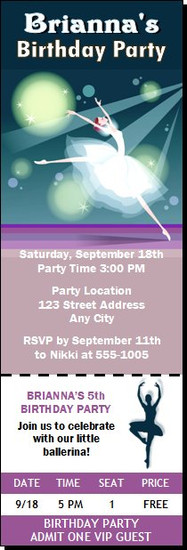 Ballerina Birthday Party Ticket Invitation