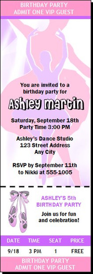 Ballerina Dancer Birthday Party Ticket Invitation