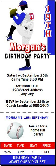 Baseball Pitcher Birthday Party Ticket Invitation Blue Red