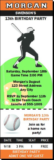Baseball Slugger Birthday Party Ticket Invitation