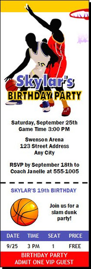 Basketball Blue Gold Red Birthday Party Ticket Invitation