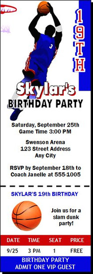 Basketball Blue Red Birthday Party Ticket Invitation