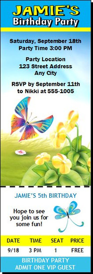 Butterfly Birthday Party Ticket Invitation