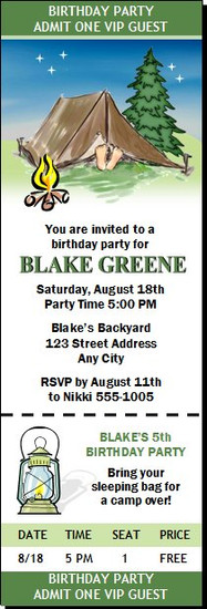 Camping Birthday Party Ticket Invitation