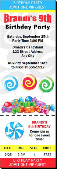 Candyland Birthday Party Ticket Invitation